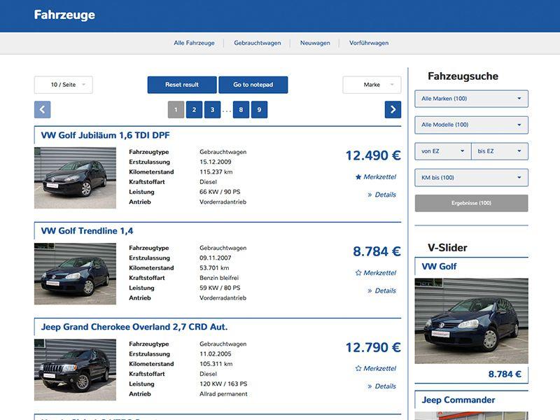 Fahrzeug-Liste 1 (mit sidebar)